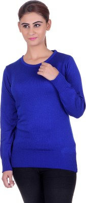 eCools Solid Round Neck Party Women's Blue Sweater