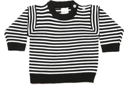 Zonko Style Striped Round Neck Casual Boy's Black, White Sweater