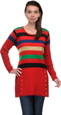Belle Striped Round Neck Casual Women,s Red Sweater