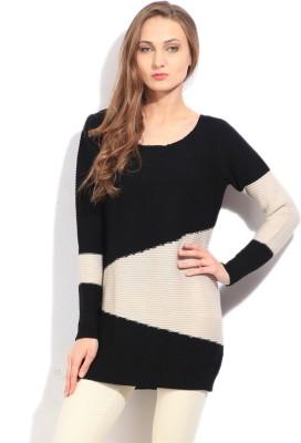 Arrow Striped Round Neck Casual Women's White, Black Sweater