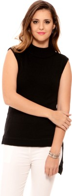 MSMB Solid Turtle Neck Casual Women's Black Sweater