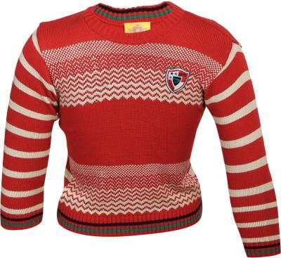 Duke Striped Round Neck Casual Women's Red Sweater
