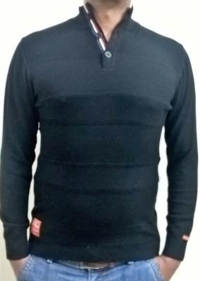 Locus Classicus Solid Turtle Neck Men's Black Sweater