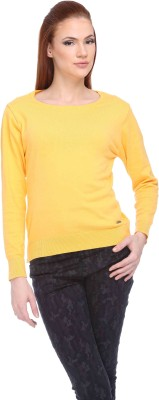 CLUB YORK Solid Round Neck Casual Women,s Yellow Sweater