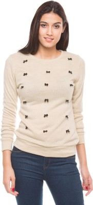 Shuffle Self Design Round Neck Casual Women's Beige Sweater