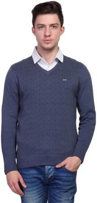TSAVO Graphic Print V-neck Casual Men's Blue Sweater
