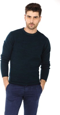 Basics Solid Round Neck Casual Men's Green Sweater
