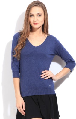 Arrow Solid V-neck Casual Women's Blue Sweater