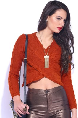 D Muse by DressBerry Self Design V-neck Casual Women's Orange Sweater