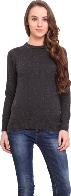 Northern Lights Solid Round Neck Casual Women's Grey Sweater