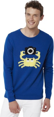 Chumbak Printed Round Neck Casual Men's Blue Sweater