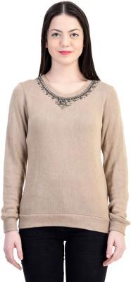 Belly Bottom Embroidered Round Neck Women's Beige Sweater