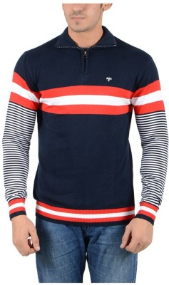Reveller Striped Turtle Neck Casual Men's Dark Blue Sweater