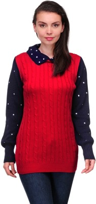 Belle Solid Round Neck Casual Women,s Red Sweater