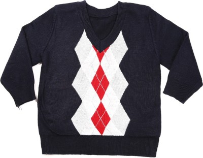 Zonko Style Geometric Print Round Neck Casual Boy's Blue Sweater