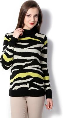 Van Heusen Geometric Print Turtle Neck Women's Black Sweater