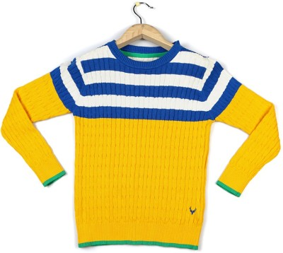 Allen Solly Self Design Crew Neck Boy's Yellow Sweater