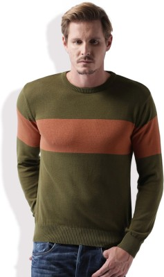 Mast & Harbour Self Design Round Neck Casual Men Green, Red Sweater