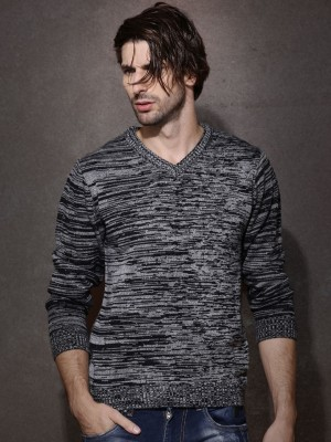 Roadster Solid V-neck Casual Men's Grey Sweater