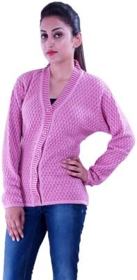 Pazaro Self Design V-neck Casual Women,s Pink Sweater