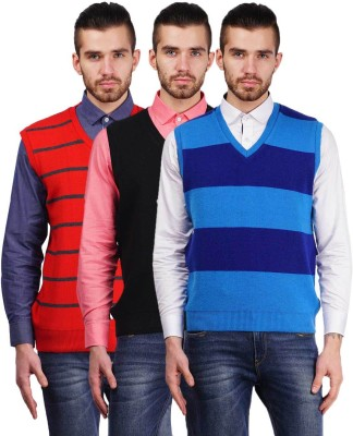 True Life Striped V-neck Casual Men's Red, Black, Blue Sweater