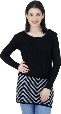 Camey Striped Round Neck Casual Women's Black Sweater