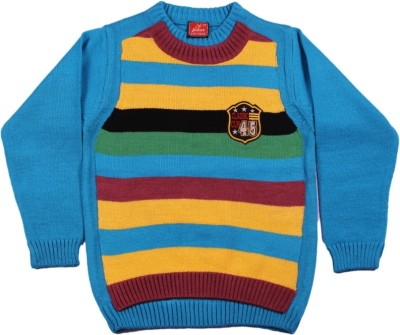 Protex Solid, Striped, Embroidered Round Neck Casual, Festive, Party Boy's Blue, Multicolor Sweater