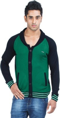 Zovi Solid Round Neck Casual Men's Green Sweater