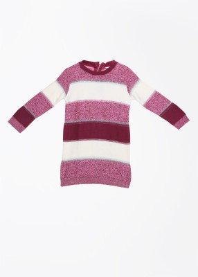 Elle Striped Round Neck Casual Women's White, Pink Sweater