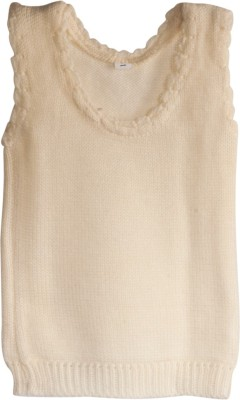 Mee Mee Solid Round Neck Casual Baby Girl's Reversible White Sweater