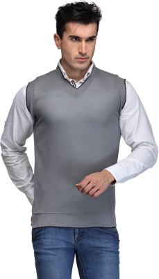 TSX Solid V-neck Casual, Party, Formal Men's Grey Sweater