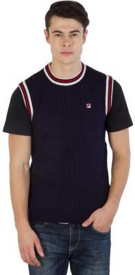 Fila Self Design Round Neck Sports Men's Dark Blue, White, Red Sweater