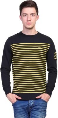 TSAVO Striped Round Neck Casual Men's Blue Sweater