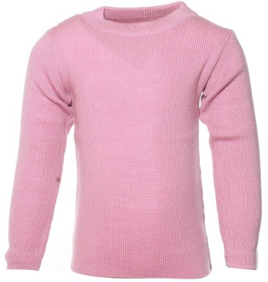 Babeezworld Solid Round Neck Casual Baby Girl's Pink Sweater