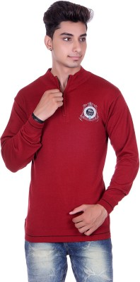 True Life Solid Turtle Neck Casual Men's Maroon Sweater