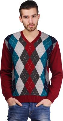 Priknit Geometric Print V-neck Formal Men's Red Sweater