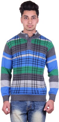 Urban Street Solid, Striped Turtle Neck Casual, Party Men's Grey Sweater