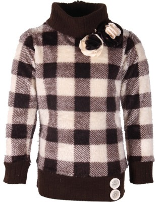 Cutecumber Checkered Turtle Neck Party Girl's Brown Sweater