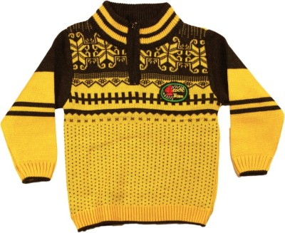 Kidax Woven Turtle Neck Casual, Festive, Party Baby Boy's Yellow Sweater