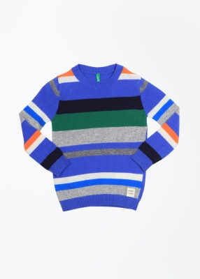 United Colors of Benetton Striped Crew Neck Casual Baby Girl's Grey, Blue Sweater