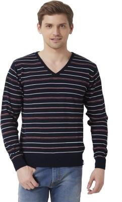 Peter England Striped V-neck Casual Men's Dark Blue Sweater