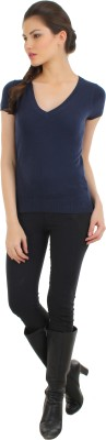 Fashion Haven Solid Round Neck Casual Women's Blue Sweater
