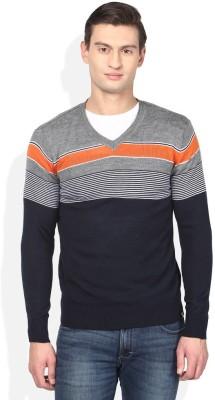 Numero Uno Striped V-neck Casual Men's Blue, Grey, Orange Sweater