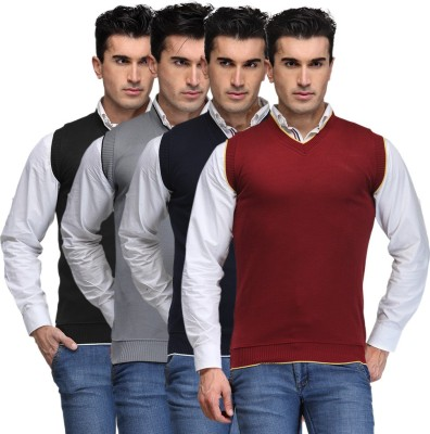 TSX Solid V-neck Casual, Party, Formal Men's Black, Grey, Blue, Maroon Sweater