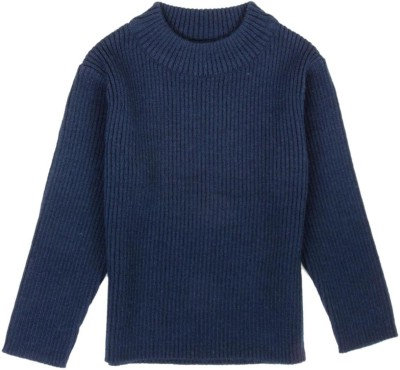 Mom & Me Solid Round Neck Casual Girl's Blue Sweater