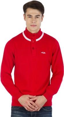 Fila Striped Round Neck Sports Men's Red, White Sweater