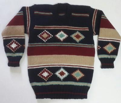 Oshin Woven Round Neck Boy's Brown, Red, Dark Blue Sweater