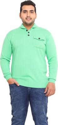 John Pride Solid V-neck Men's Green Sweater