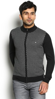 Blackberrys Self Design Round Neck Party Men Black Sweater