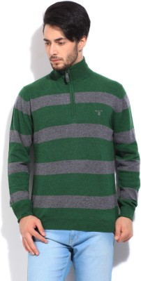 Gant Striped Turtle Neck Casual Men's Grey, Green Sweater